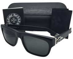65c4d9a10d9 Chrome Hearts New CHROME HEARTS Sunglasses SLUSS BUSSIN Matte Black w  Grey Lenses  Sterling Silver