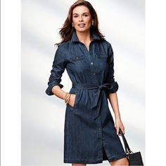 Talbots Denim Shirtdress See 4th picture for description--ONLY SIZE 6 AVAILABLE!!!!! Worn once or twice and does not come with the belt that is pictured in the first two pics. Talbots Dresses