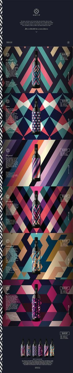 Vertical scroll, wine website Colour spectrums for liquors. Vertical, angular, they represent speed and uncomfortability. Could it mean youre gonna get drunken much faster ? or feel much better ? Site Web Design, Interaktives Design, Label Design, Layout Design, Creative Design, Packaging Design, Branding Design, Logo Design, Webdesign Inspiration