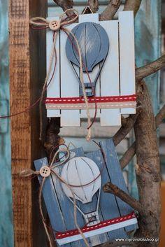Μπομπονιέρα Βάπτισης Διακοσμητικό ξύλινο φράχτης με Αερόστατο bell-26