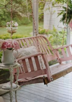 Pink porch swing