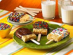 rice crispy treat pops!! for Abby's party...