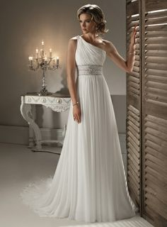 Pretty wedding dress. I would love this in a dark or light blue as a ballroom dress - Click image to find more Weddings Pinterest pins