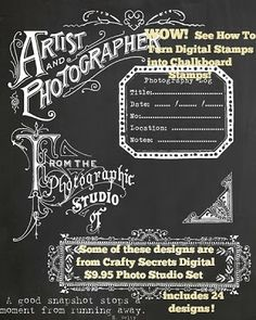 Crafty Secrets Tutorial on How to Turn Digital Stamps into Chalkboard Style Designs plus link to Sheila Rumney's New Tutorial and adorable DT Christmas cards