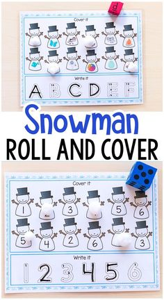 These snowman roll and cover mats make learning number sense and letter sounds fun and engaging for kids. These are perfect for winter centers or homeschool! Preschool Themes, Kindergarten Literacy, Preschool Classroom, Preschool Learning, Classroom Activities, Snow Activities, Winter Activities For Kids, Preschool Christmas, Preschool Winter