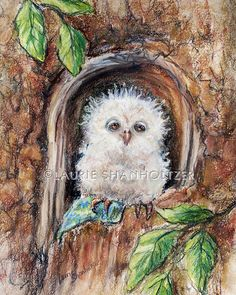 "Owl Art children Nursery, baby animal, wildlife Cotton art paper and canvas print ""Sleepy Little Owl...Close Your Eyes"" Laurie Shanholtzer"