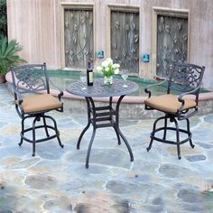 Meadow Decor K3C2 Kingston Three Piece Outdoor Counter Height Dining Set
