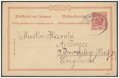 Germany, German Empire, Deutsches Reich 1889, 10 Pfg.-GA-Doppelkarte mit Bahnpoststempel OYBIN-ZITTAU, nach Bromley-Kent/GB, später von London nach Sachsen zurückgeleitet (Mi.-Nr.P 27/01). Price Estimate (8/2016): 15 EUR. Unsold.
