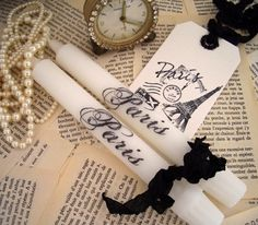 Pair of white candles  stamped PARIS  and tag  eiffel tower $9.49 #French #candle