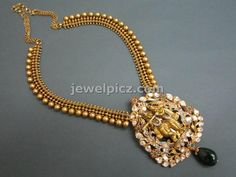 Beautiful temple necklace designs with Krishna Pendent by Tibarumal jewellers ~ Latest Indian Jewellery designs