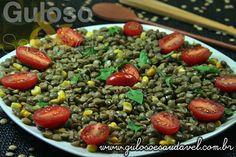 Esta Salada de Lentilha com Manjericão é nutritiva, fácil e deliciosa. Bora fazer para #almoço? Todos vão amar!  #Receita no link: http://www.gulosoesaudavel.com.br/2012/07/23/salada-lentilha-manjericao/