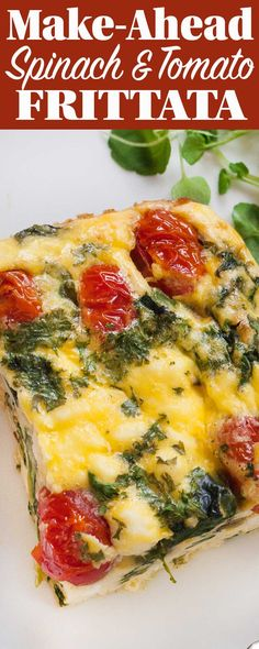 This frittata with spinach, tomatoes, and feta cheese is such a good make-ahead breakfast! Bake all in one dish, then reheat squares during the week. (Gluten-free, Vegetarian)