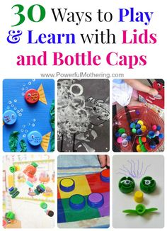 30 Ways to Play & Learn with Lids and Bottle Caps - isn't recycling things into crafts for kids so fun! Plastic Bottle Caps, Bottle Cap Crafts, Plastic Cups, Kids Crafts, Preschool Crafts, Toddler Activities, Preschool Activities, Diy Pour Enfants, Toddler Fun