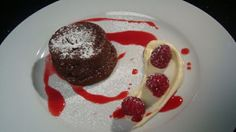 Chocolate Fondant with Raspberry Coulis and Fresh Berries