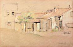 Acheter Tableau 'Cottaages' de Paul Cezanne - Achat d'une reproduction sur toile peinte à la main , Reproduction peinture, copie de tableau, reproduction d'oeuvres d'art sur toile