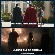 Quando vocês pegam férias?  #justiceleague #superman #batman #wonderwoman #school #escola #engraçado #funny