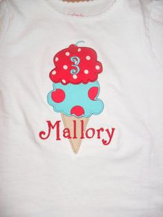 Ice Cream Cone Applique Personalized Shirt by doodlebugdesigns34, $21.00