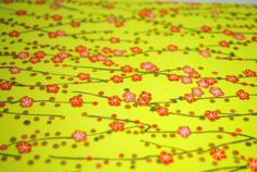 Handmade origami paper - Tiny blossoms / green from Japanese_Garden by DaWanda.com