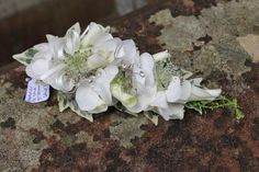 The Groom's Mum's Corsage of Rolled Norma Jean Rose Petals, Hydrangea Florest, Astrantia and a touch of Diamante sparkle