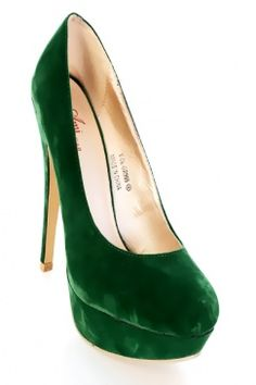 $20 Green Velvet Almond Shaped Toe Platform Pump Heels