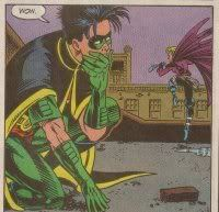 Tim likes it when girls hit him in the face with bricks. He is a strange boy. Tim Drake Stephanie Brown Detective Comics 647-649 TimSteph StephTim Batman Robin Spoiler Batgirl Red Robin First Meeting OTP ship