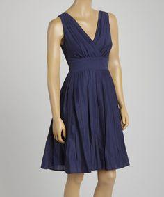 Navy Sleeveless Empire-Waist Dress