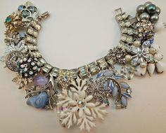 Winter Formal Repurposed Vintage Jewelry Charm Bracelet one of a kind OOAK. $82.00, via Etsy.