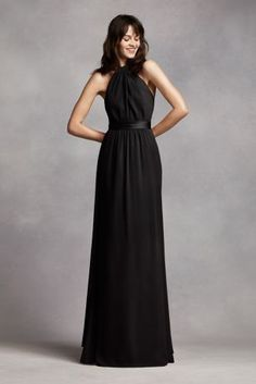 Go for a romantic look inlong and flowy crinkle chiffon sheath dress!  Halter bodice with abelted waist that features a back streamer for added drama.  Fully lined. Back zip. Imported polyester. Dry clean only.