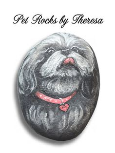 Hand Painted Shih Tzu on a Natural Beach Stone