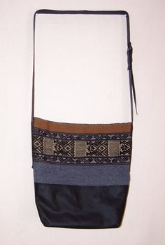 Peruvian handwoven fabric and black leather cross body boho messenger bag handbag purse