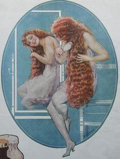 1919 Ladies Home Journal Will Grefe Pin Up Watkins Mulsified Shampoo Vintage Ad