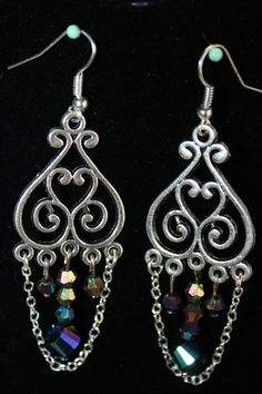 Chandelier Silver and Peacock Crystal Earrings