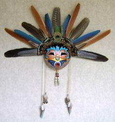 Native American Masks Art - Gourd Mask by Joe Watkins Native American Masks, Native American Artwork, Native American Pottery, Native American Spirituality, Paper Mache Mask, Gourds Birdhouse, Hand Painted Gourds, African Sculptures, Black Love Art