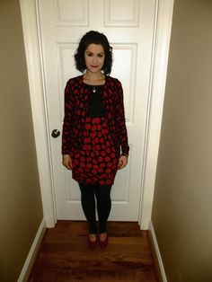 Black and white polka dot dress red shoes