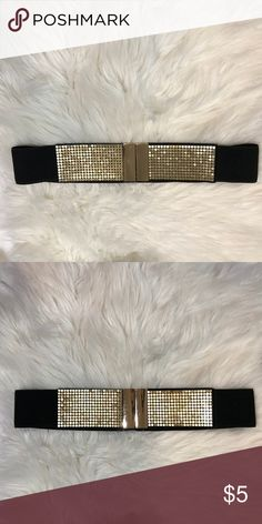 "Black & Gold Fashion Waist Belt Great condition! No holes. No tears. No stains. SMOKE FREE HOME 100% polyester  MEASUREMENTS: • 30"" Long  • 2.5"" wide Rue21 Accessories Belts"