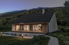 Projekt domu Murator C365j Przejrzysty - wariant X 104,5 m2 - koszt budowy - EXTRADOM Small Modern House Plans, My House Plans, Facade House, Home Fashion, Bungalow, Countryside, Gazebo, Cottage, Outdoor Structures