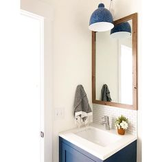 off in search of some blue //// 🌊 this bath is small on space but large on function for one lucky little guy Vanity, Mirror, Bathroom, Guy, Furniture, Space, Home Decor, Dressing Tables, Washroom