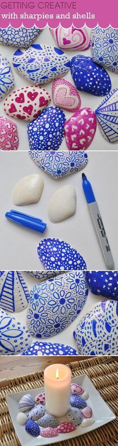 DIY Sharpie Crafts - Sharpies And Shells Craft - Cool and Easy Craft Projects and DIY Ideas Using Sharpies - Use Markers To Decorate and Design Home Decor, Cool Homemade Gifts, T-Shirts, Shoes and Wall Art. Creative Project Tutorials for Teens, Kids and A Seashell Art, Seashell Crafts, Beach Crafts, Summer Crafts, Seashell Painting, Rock Crafts, Fun Crafts, Diy And Crafts, Crafts For Kids