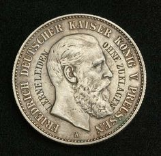 German States Coins Prussia 2 Mark Silver coin of 1888, Frederick III German Emperor and King of Prussia