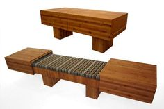 """A coffee table that turns into a bench with side tables? Yes, please. Called """"Tagei"""" - meaning """"versatility"""" in Japanese - by designer Akemi Tanaka, it's made of plyboo (bamboo plywood) and is a perfect space-saver for small homes like apartments or condos. (Source: inhabitat.com)"""