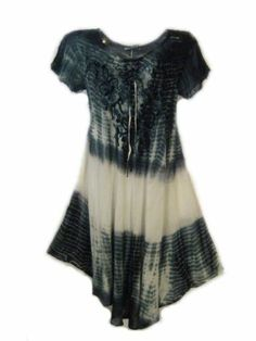 New Boho Beauty Gray Tie Dye Coverup Hi Lo Asymmetrical Maxi Dress Size 2X | eBay