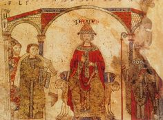 Pope with bishop (right) & clergy (left) // c. 1087 // From Exultet Rolls of southern Italy // Biblioteca Apostolica,Vatican //  Exultet iam angelica turba caelorum (Rejoice now, all you heavenly choirs of angels) // #Byzantine #EasterVigil #liturgy