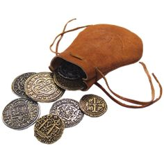 Leather Bag Of Coin Pieces Of Eight - OD715 by Medieval Collectibles