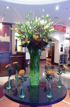 Creative flower arrangement in the lobby of the London Marriott Hotel Regents Park