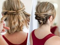 Diy Updos For Short Hair - This Quick Messy Updo For Short Hair Is So Cool Short Hair Updo Hair Hairstyle Coiffure Short Hair Styles Long Hair Styles Super Simple Updo Perfect F. Medium Hair Styles, Curly Hair Styles, Short Styles, Short Hair Braid Styles, Updo Styles, Hair Medium, Short Hair Styles Formal, Medium Hair Updo Easy, Medium Length Hair Updos