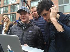 Matthew/Alec watching a take with Jimmy Warden and McG photobombing... #Shadowhunters hahaha McG XD