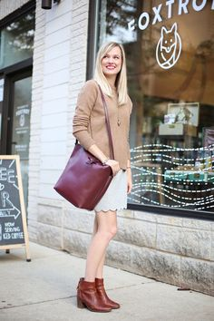 How to pair a sweater with a skirt for fall | Charmingly Styled