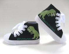 Boys Dinosaur Shoes, Children's Hand Painted T Rex on Black Hi Top Sneakers for Baby or Toddler