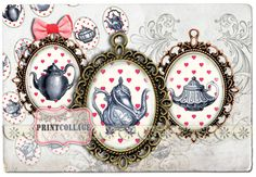 Digital Printable Sheets - Tea Time - 40x30 30x22 25x18 18x13mm Cabochon oval images Clip Art for pendants Instant download images C07 - pinned by pin4etsy.com