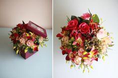 Подобная композиция будет стоить 2200 рублей. Возможный состав: кустовые розы, орхидеи, рускус, ягоды; картонная коробка, размер композиции ~ 30*40 см